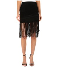 Blank Nyc Black Suede Fringe Skirt In Seal The Deal Seal The Deal Women's Skirt