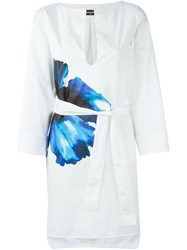 Dsquared2 Floral Belted Shirt Dress White