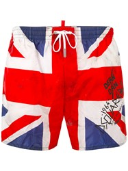Dsquared2 Union Jack Swim Shorts Men Polyamide 46 White