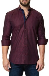 Maceoo Men's Trim Fit Print Sport Shirt Burgundy