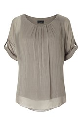 James Lakeland Silk 3 4 Sleeve Top Beige