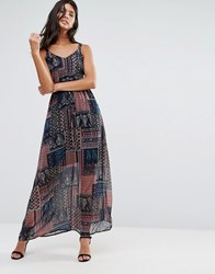 Qed London Paisley Print Patchwork Maxi Dress Navy