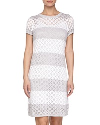 Neiman Marcus Short Sleeve Pointelle Stripe Sweater Dress Moonbeam