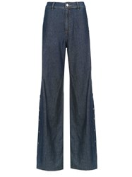 Spacenk Nk Buttoned Palazzo Jeans Blue