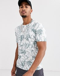 Celio T Shirt With All Over Leaf Print In White