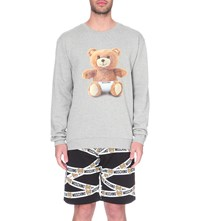 Moschino Teddy Bear Print Cotton Jersey Sweatshirt Grey