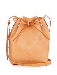 Mansur Gavriel Blue Lined Mini Leather Bucket Bag Tan Multi