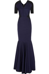 Roland Mouret Huhu Two Tone Stretch Crepe Gown Midnight Blue