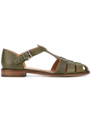 Church's Buckle Strap Sandals Women Leather 35 Green