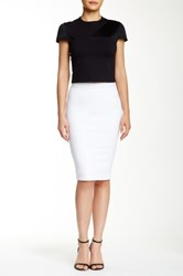 David Lerner Back Zipper Midi Skirt White