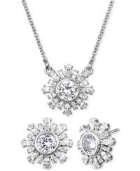 Jewel Badgley Mischka Crystal Flower 16 Pendant Necklace And Stud Earrings Set Silver