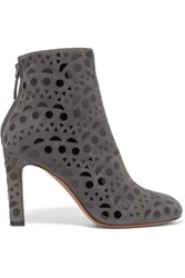 Alaia Patent Leather Appliqued Suede Boots Charcoal