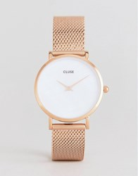 Cluse Cl30047 Minuit La Perle Mesh Watch In Rose Gold Rose Gold