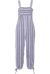Band Of Outsiders Stripe Eyelet Cotton Chambray Jumpsuit Blue