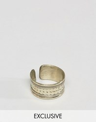 Reclaimed Vintage Inspired Ring In Gold With Engraving Gold