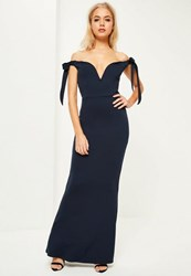 Missguided Navy Crepe Sweetheart Neck Bardot Tie Maxi Dress