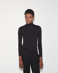 6397 Tubular Turtleneck Black Navy Stripe