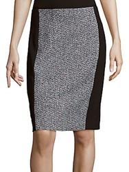 T Tahari Colorblocked Tweed Pencil Skirt Black White