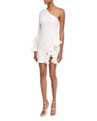 Cinq A Sept Pia One Shoulder Long Sleeve Cocktail Dress With Ruffles Pink
