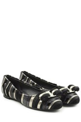Salvatore Ferragamo Striped Ballerinas With Leather Black