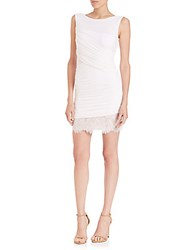 Bcbgmaxazria Clio Ruched Jersey And Lace Dress Black