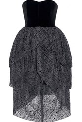 Isa Arfen Tiered Velvet And Flocked Tulle Dress Black