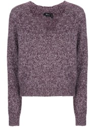 Theory V Neck Jumper Purple