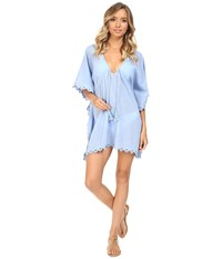 Seafolly Crochet Trim Kaftan Cover Up Mid Blue Women's Swimwear