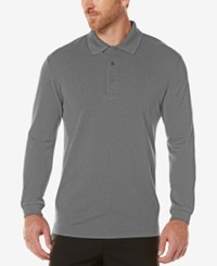 Pga Tour Men's Textured Long Sleeve Performance Polo Medium Grey
