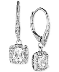 Anne Klein Gold Tone Pave Crystal Drop Earrings Silver