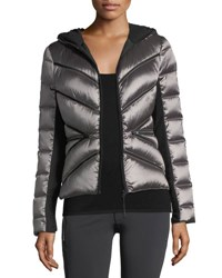 Blanc Noir Zip Front Mesh Inset Hooded Jacket Gray