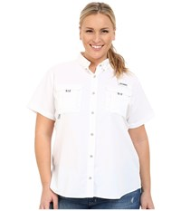 Columbia Plus Size Bahama S S Shirt White Women's Short Sleeve Button Up