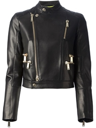 Dsquared2 Cropped Calf Leather Jacket Black