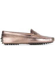 Tod's Metallic Loafers Brown