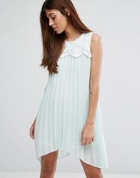 Darling Hanky Hem Dress With Lace Detail Pale Mint Green