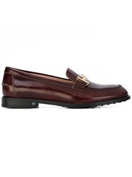 Tod's Double T Loafers Women Calf Leather Leather Rubber 38.5 Brown
