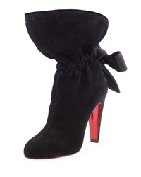 Christian Louboutin Kristofa Suede Satin Bow Red Sole Boot Black
