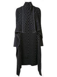 Gareth Pugh Chevron Draped Cardi Coat Black