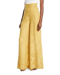 Johanna Ortiz Summer Love Wide Leg Jacquard Pull On Pants Yellow
