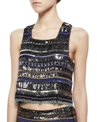 Parker Kelsey Beaded Fringe Crop Top Black