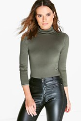 Boohoo Turtle Neck Long Sleeve Top Khaki