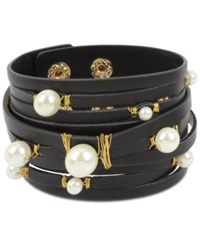 Inc International Concepts Gold Tone Imitation Pearl Leather Wrap Bracelet Only At Macy's Black