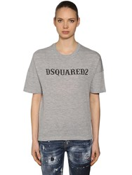 Dsquared Oversized Printed Cotton Jersey T Shirt Grey