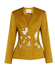 Brock Collection Jaynce Embellished Cotton Blend Jacket Gold