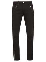 Alexander Mcqueen Leather Trimmed Slim Leg Jeans Black