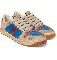 Gucci Virtus Distressed Leather And Webbing Sneakers Blue