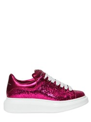 Alexander Mcqueen 40Mm Glitter And Metallic Leather Sneakers