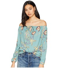 Roxy Paradise Eyes Long Sleeve Cold Shoulder Top Trellis Bird Flower Clothing Green