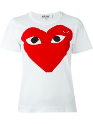Comme Des Garcons Play Heart Print T Shirt White