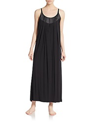 Oscar De La Renta Sleepwear Satin Trimmed Long Gown Black